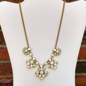 J.Crew white bead and opalescent crystal necklace